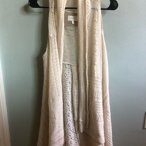 Anthropologie Ivory Open Knit Sweater Vest